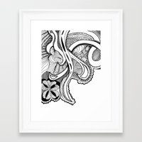 zentangle Framed Art Prints featuring zentangle by Pinkspoisons