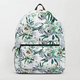 Country white green rustic watercolor floral Backpack