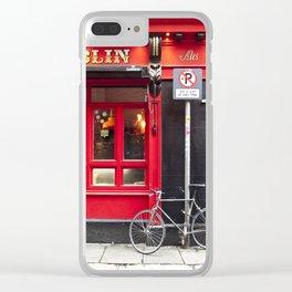 Red Dublin Pub Clear iPhone Case