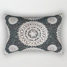 Black Glitter and Silver Mandala Textile Piece Rectangular Pillow