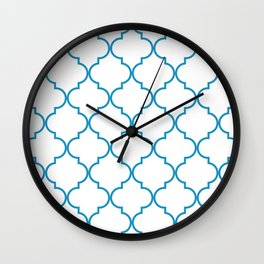 Quatrefoil - Cerulean on White Wall Clock