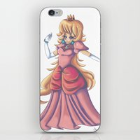 princess peach iPhone & iPod Skins featuring Princess Peach by Christine Tribou
