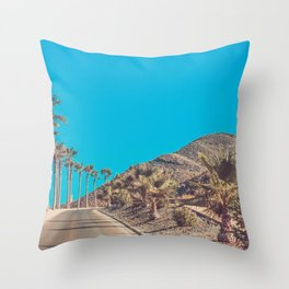 Andalusia street with palm trees at sunset. Retro toned Throw Pillow