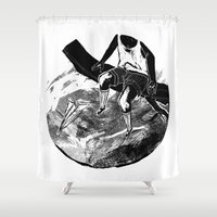 planes Shower Curtains featuring paper planes by Rzuud