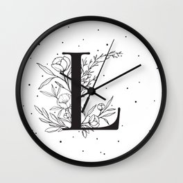Black Letter L Monogram / Initial Botanical Illustration Wall Clock