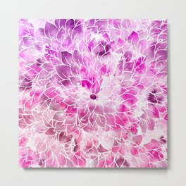 Modern bright pink hand painted watercolor floral Metal Print