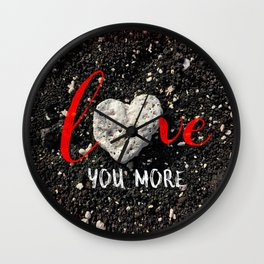 "Coral rock heart on Hawaii black sand | ""Love you more"" Wall Clock"