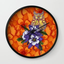Columbine Paisley Owl Wall Clock