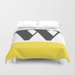 Monogram Letter W-Pantone-Buttercup Duvet Cover