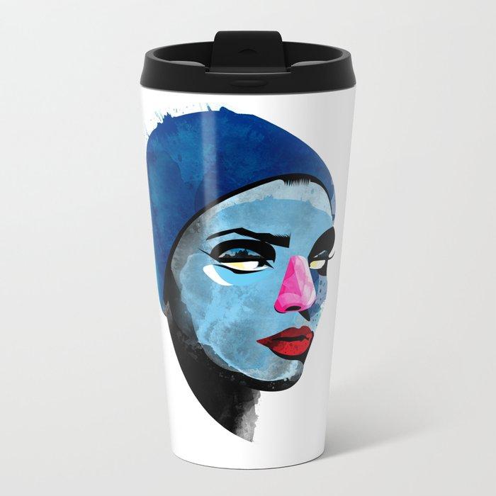 Woman's head Metal Travel Mug