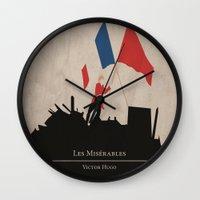 les mis Wall Clocks featuring Les Misérables by Abbie Imagine