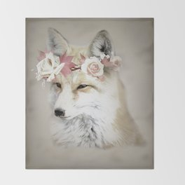 Flower Fox Throw Blanket