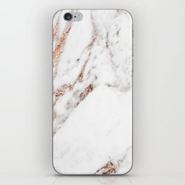Rose gold foil marble iPhone Skin