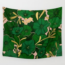 Green, Gold, and Pink, Floral Pattern Wall Tapestry