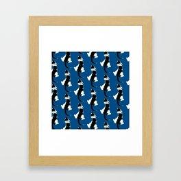 Benji the Cat 3 - Deep Blue Framed Art Print