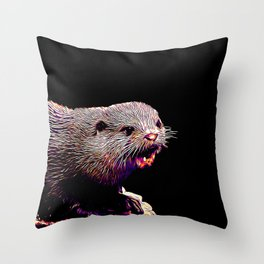 fish otter on a rock vector art purple white Throw Pillow