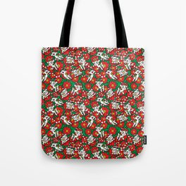 Christmas Poinsettia Candy Cane Deer Tote Bag