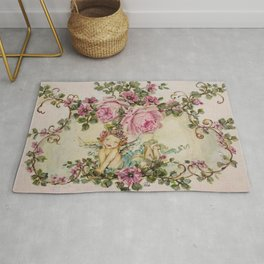 Sweet Cherub and Pink Roses Painting Rug