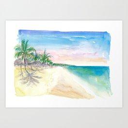 Very Lonely Caribbean Playa Palancar Beach on Cozumel Mexico Art Print