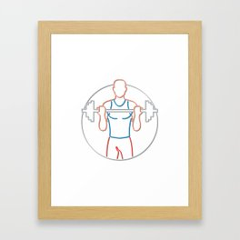 Athlete Lifting Barbell Neon Sign Framed Art Print