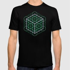 Sacred Geometry - glowing energy lines - cube and flowers MEDIUM Mens Fitted Tee Black