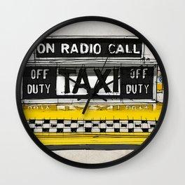 Yellow cab of New York sketch, on radio call, off duty Wall Clock