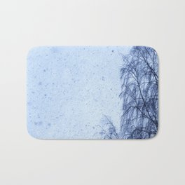 Just snowfall and birch Bath Mat