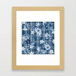 Elegant Blue Floral Plaid Framed Art Print