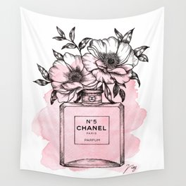 Floral Fragrance Pink Wall Tapestry