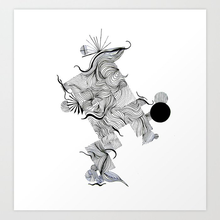 Abstract Line Drawing Art Print By Treelovergirl