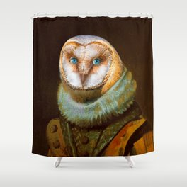 Animals - Funny Owl Painting Shower Curtain