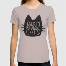 Talk to Me About Cats Womens Fitted Tee Cinder SMALL