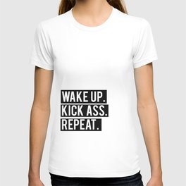 Printable Quote Wake Up Kick Ass Be Kind Repeat Inspirational Typography Poster, Wall Art Home Decor T-shirt