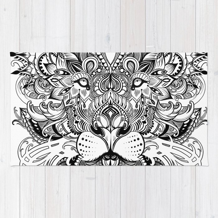 Black And White Geometric pattern mandala lion face Rug by sarachnid ...