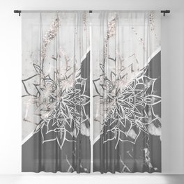 Yin Yang Mandala on Marble #1 #decor #art #society6 Sheer Curtain