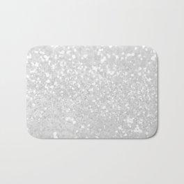 Chic elegant glamour white faux glitter Bath Mat