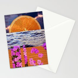 Orange Slice Ocean Flower Collage Stationery Cards