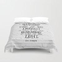 dumbledore Duvet Covers featuring Albus Dumbledore Quote Inspirational by Go Art