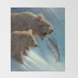 Brown Bears - Fishing Lesson Throw Blanket