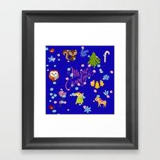 Marry Christmas Patter blue Framed Art Print
