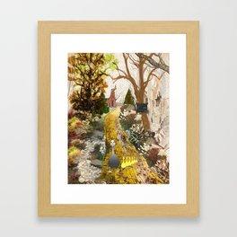 Geese on the golden lane Framed Art Print