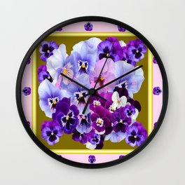 COLORFUL SPRING  PANSIES GARDEN COLLECTION Wall Clock