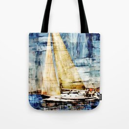 mixed  media sailboat Tote Bag
