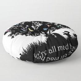 We're All Mad Here III - Alice In Wonderland Silhouette Art Floor Pillow