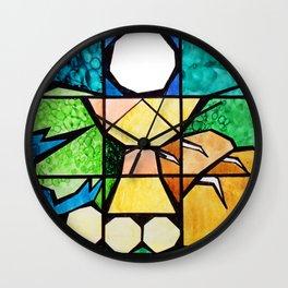 Qubism, square, bread, vine, Last Supper, Jesus, Christ Wall Clock