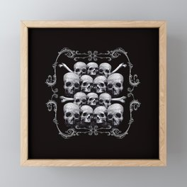 Skulls and Filigree - Black and White Framed Mini Art Print