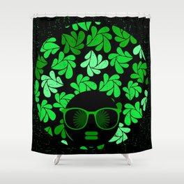Afro Diva : Green & Black Shower Curtain