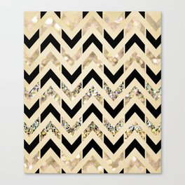 Black & Gold Glitter Herringbone Chevron on Nude Cream Canvas Print