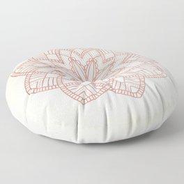 Flowery Rose Gold Mandala on Cream IV Floor Pillow