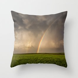 Mega Rainbow - Brilliant Rainbow Against Stormy Sky in Oklahoma Throw Pillow